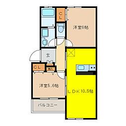 アスカB棟[1階]の間取り