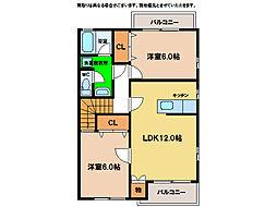 ハーブメゾン多田A・B[2階]の間取り