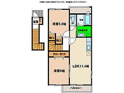 プレ ブリッジ シェトワI・II[2階]の間取り