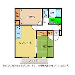 セジュール大原II[1階]の間取り