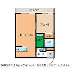 ピース・スクエア小松島[202号室]の間取り