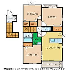 エトワール沖洲A・B[B202号室]の間取り