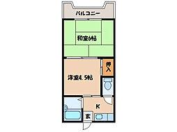 西原シティマンション[1階]の間取り
