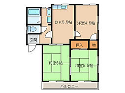 フレグランス・ハマサキI[2階]の間取り