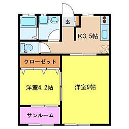 モンターニュA棟[1階]の間取り