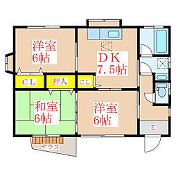 是枝住宅 1階3DKの間取り