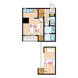 Bears01 2階ワンルームの間取り