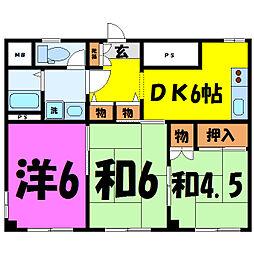 埼玉県坂戸市関間1丁目の賃貸マンションの間取り