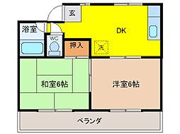埼玉県東松山市大字下野本の賃貸アパートの間取り