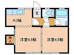 グランメールKAZUII[2階]の間取り