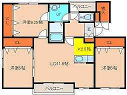 北海道函館市豊川町の賃貸マンションの間取り