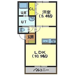 北海道函館市宝来町の賃貸アパートの間取り