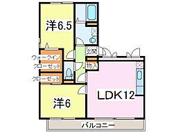 JR内房線 長浦駅 徒歩8分の賃貸アパート 3階2LDKの間取り