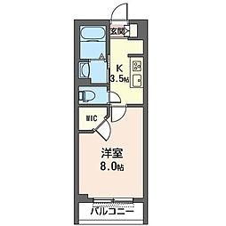 JR内房線 八幡宿駅 徒歩5分の賃貸マンション 2階1Kの間取り