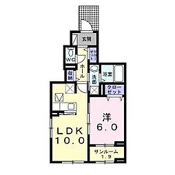 JR内房線 姉ヶ崎駅 バス13分 永藤下車 徒歩1分の賃貸アパート 1階1LDKの間取り
