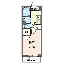 JR内房線 五井駅 徒歩18分の賃貸マンション 2階1Kの間取り