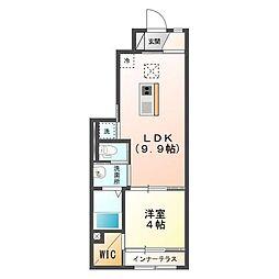 JR内房線 袖ヶ浦駅 3.8kmの賃貸アパート 1階1LDKの間取り