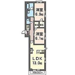 JR内房線 八幡宿駅 徒歩7分の賃貸マンション 3階2LDKの間取り