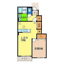 徳島県徳島市大原町糠坪の賃貸アパートの間取り