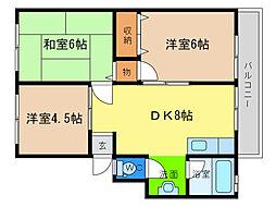 橋川マンション1[1階]の間取り