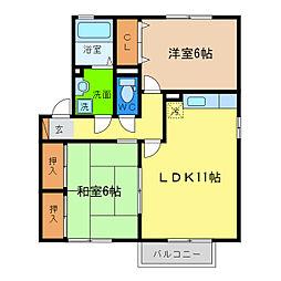 徳島県徳島市八万町夷山の賃貸アパートの間取り