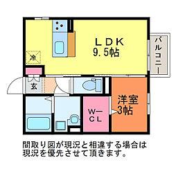 新潟県新潟市中央区下所島2丁目の賃貸アパートの間取り