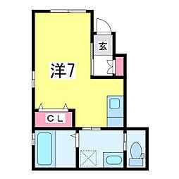 BLUE HOUSE~ブルーハウス~ 1階ワンルームの間取り