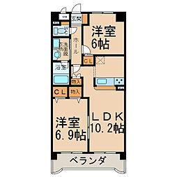 クラージュ中央[1階]の間取り