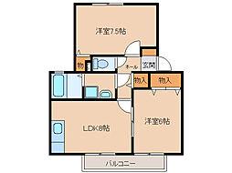 ロイヤルガーデン北屋敷[2階]の間取り