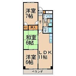 大平コーポラスII[4階]の間取り