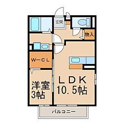 コーポクレスト[2階]の間取り