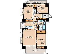 プリンスハイツ小牧中央601号室[6階]の間取り