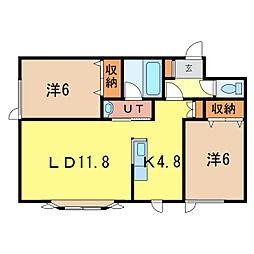 北海道旭川市永山三条3丁目の賃貸アパートの間取り