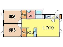 トーワ6条西3[1階]の間取り