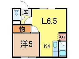 旭扇マンション[1階]の間取り