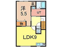 レトア 2階1DKの間取り