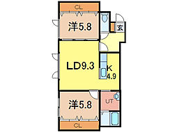 ルーブルK・R 1階2LDKの間取り