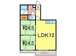 ウインザー8・8 9階2LDKの間取り