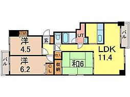 旭川グランドハイツ[4階]の間取り