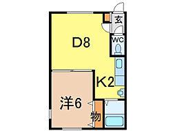 シンフォニーミキA館 2階1DKの間取り