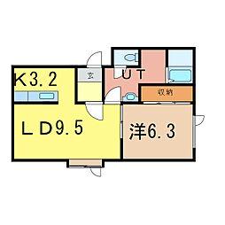 北海道旭川市二条通18丁目の賃貸アパートの間取り