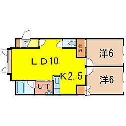 オーベルジュ7 2階2LDKの間取り