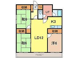 ノア6・西2[2階]の間取り