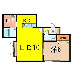 エリス D棟[2階]の間取り