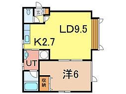 アネレット壱号館 1階1LDKの間取り