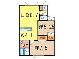 ノースビレッジ[1階]の間取り