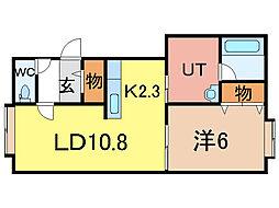 ニューエスパニア3B[1階]の間取り