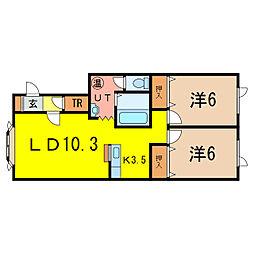 ノヴェル神居2.4 B[1階]の間取り