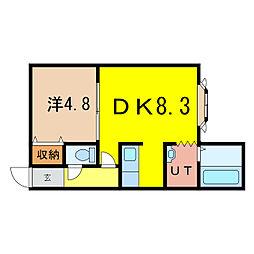 ノヴェル神居2.4 C[1階]の間取り