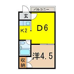 ホワイトルーム錦町壱番館[1階]の間取り
